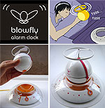 A flying alarm clock